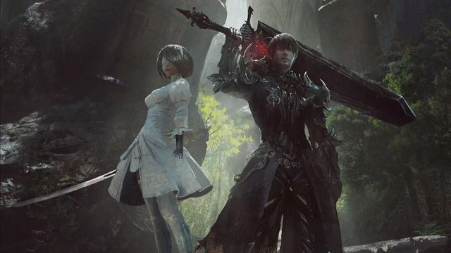 2P, 2B's alternate form, and the base Final Fantasy 14 protagonist stand together in the patch promotional art