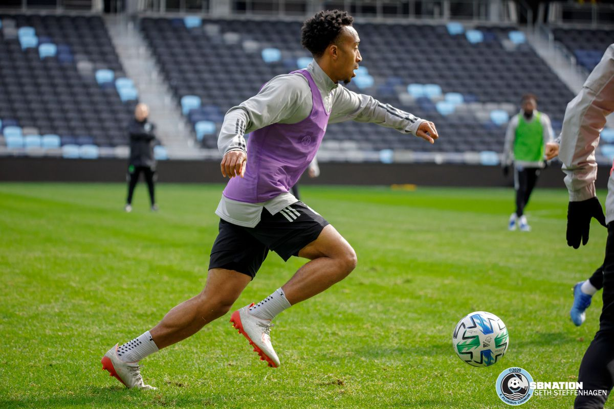 March 10, 2020 - Saint Paul, Minnesota, United States - Minnesota United midfielder Marlon Hairston (94) dribbles the ball during the Loon's first team practice at Allianz Field.