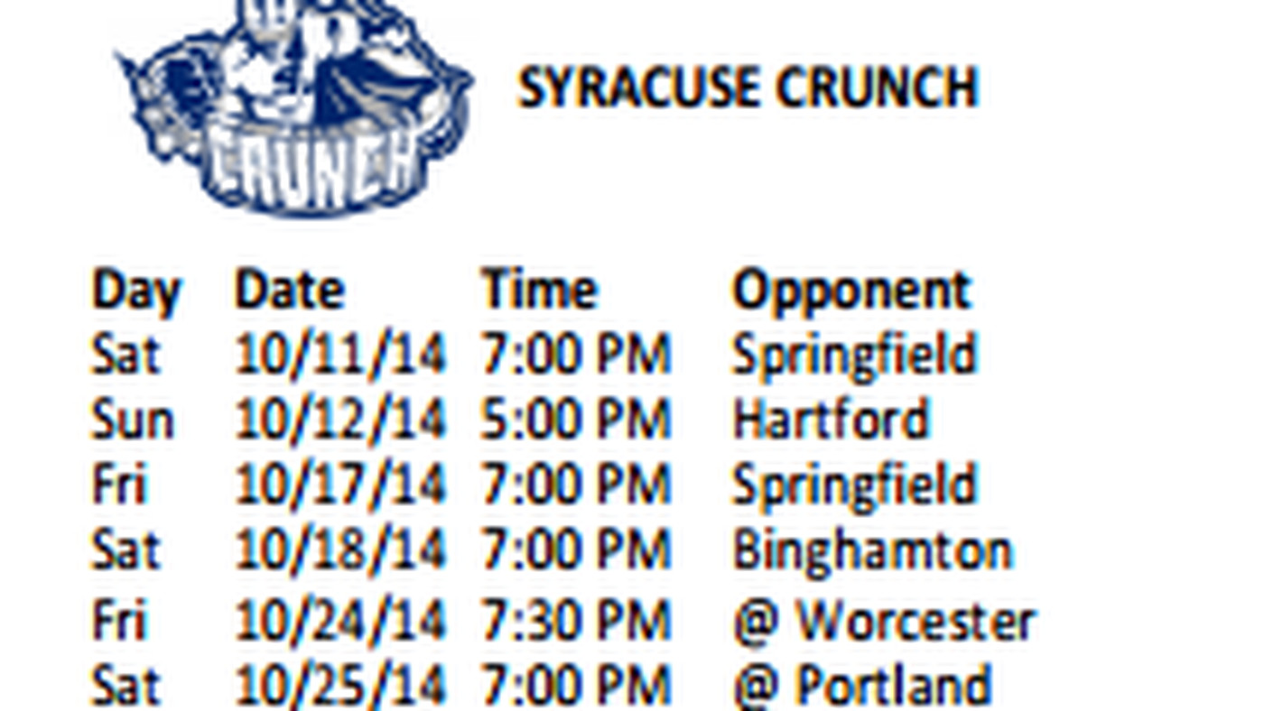 syracuse crunch 2014-15 ahl schedule released - raw charge