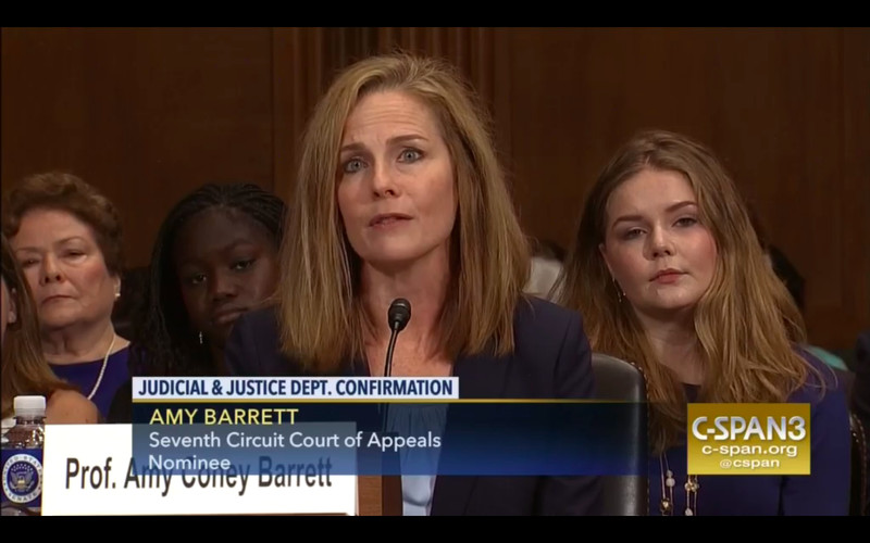 Coney Barrett's confirmation hearing on C-SPAN.
