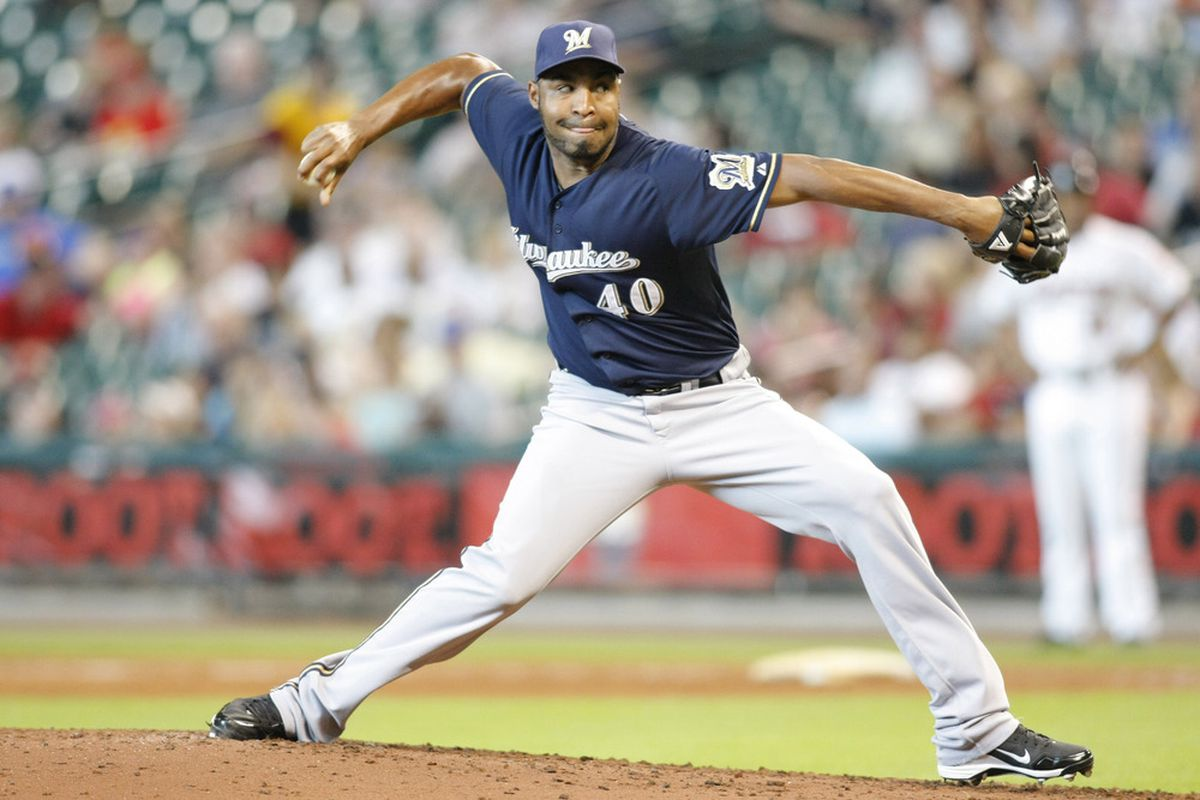 July 7, 2012; Houston, TX, USA; Milwaukee Brewers relief pitcher Jose Veras (40) throws a pitch against the Houston Astros in the fourth inning at Minute Maid Park. Mandatory Credit: Brett Davis-US PRESSWIRE