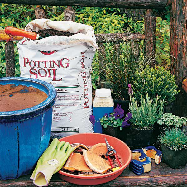 Soil, gloves, and materials needed to plant in a pot.