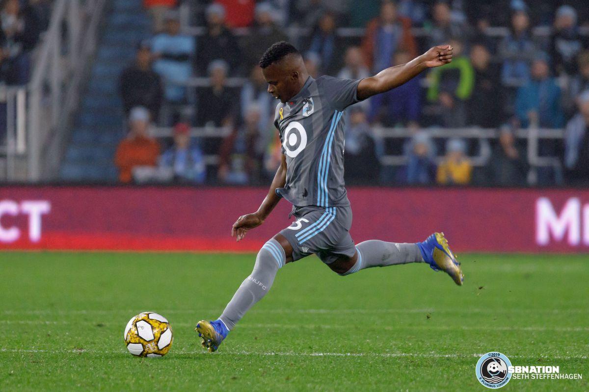 September 29, 2019 - Saint Paul, Minnesota, United States - Minnesota United forward Darwin Quintero (25) kicks the ball during a match against LAFC at Allianz Field.