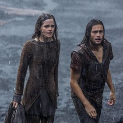 """(Left to right) Emma Watson is Ila and Douglas Booth is Shem in """"Noah,"""" from Paramount Pictures and Regency Enterprises."""