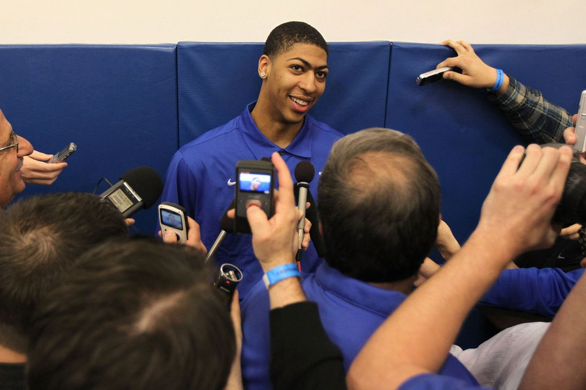 LEXINGTON, KY - APRIL 17:  Anthony Davis talks with the media during the news conference in which he announced he will enter the NBA draft at Joe Craft Center on April 17, 2012 in Lexington, Kentucky.  (Photo by Andy Lyons/Getty Images)