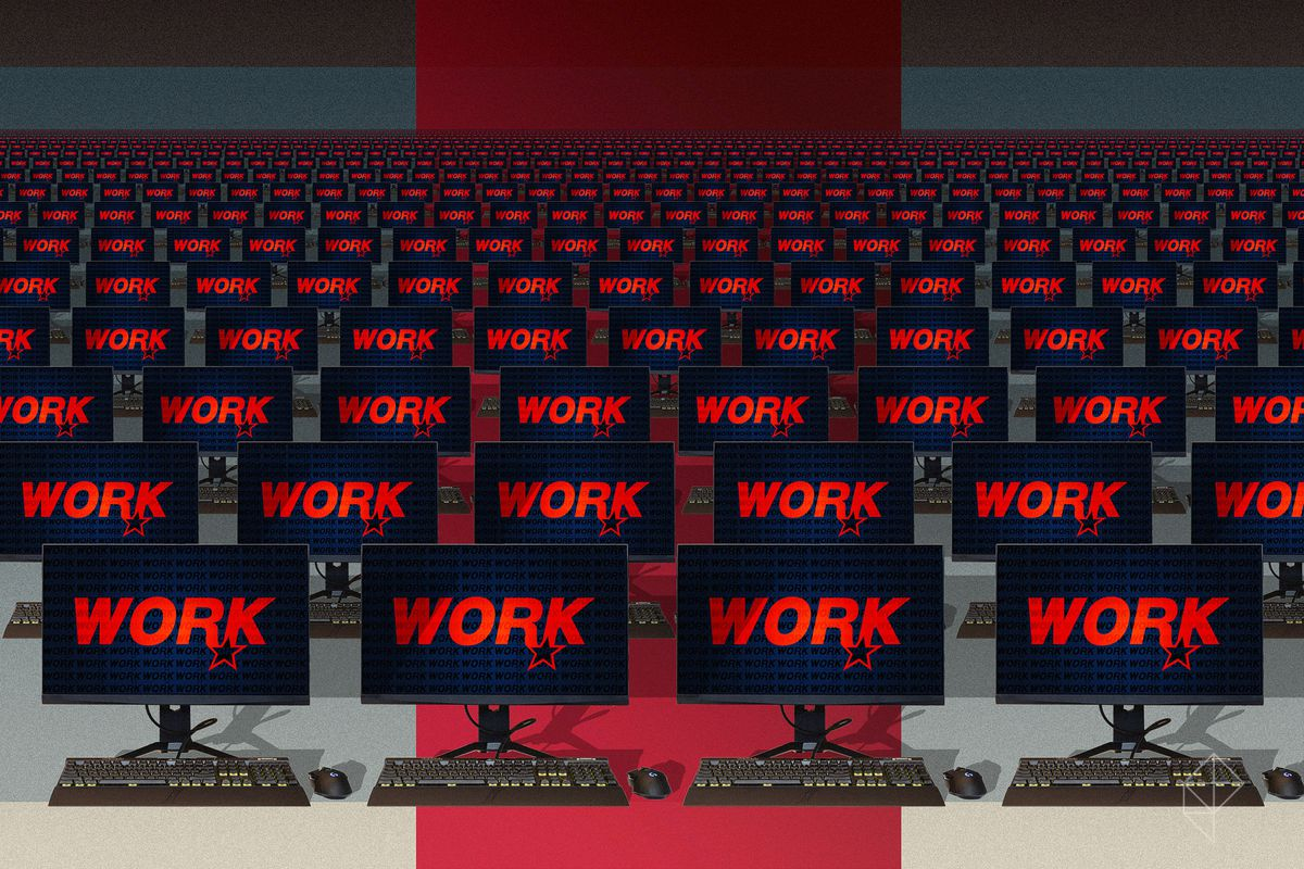 Rockstar & WORK & ART art on an army of computer screens