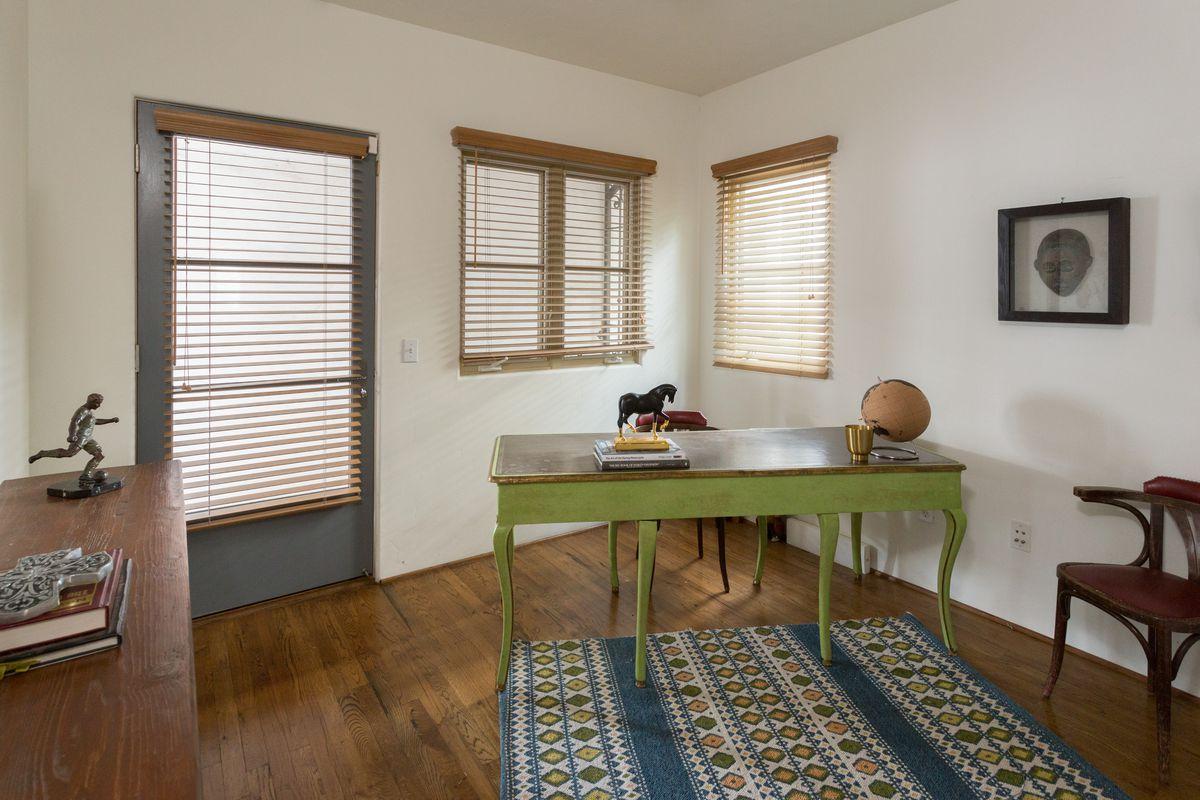 Office with hardwood floor