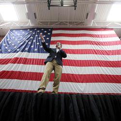 GOP presidential candidate and Sen. Ted Cruz, R-Texas, speaks on behalf of Sen. Mike Lee, R-Utah, at a rally in Draper at the American Preparatory Academy Saturday, March 19, 2016.