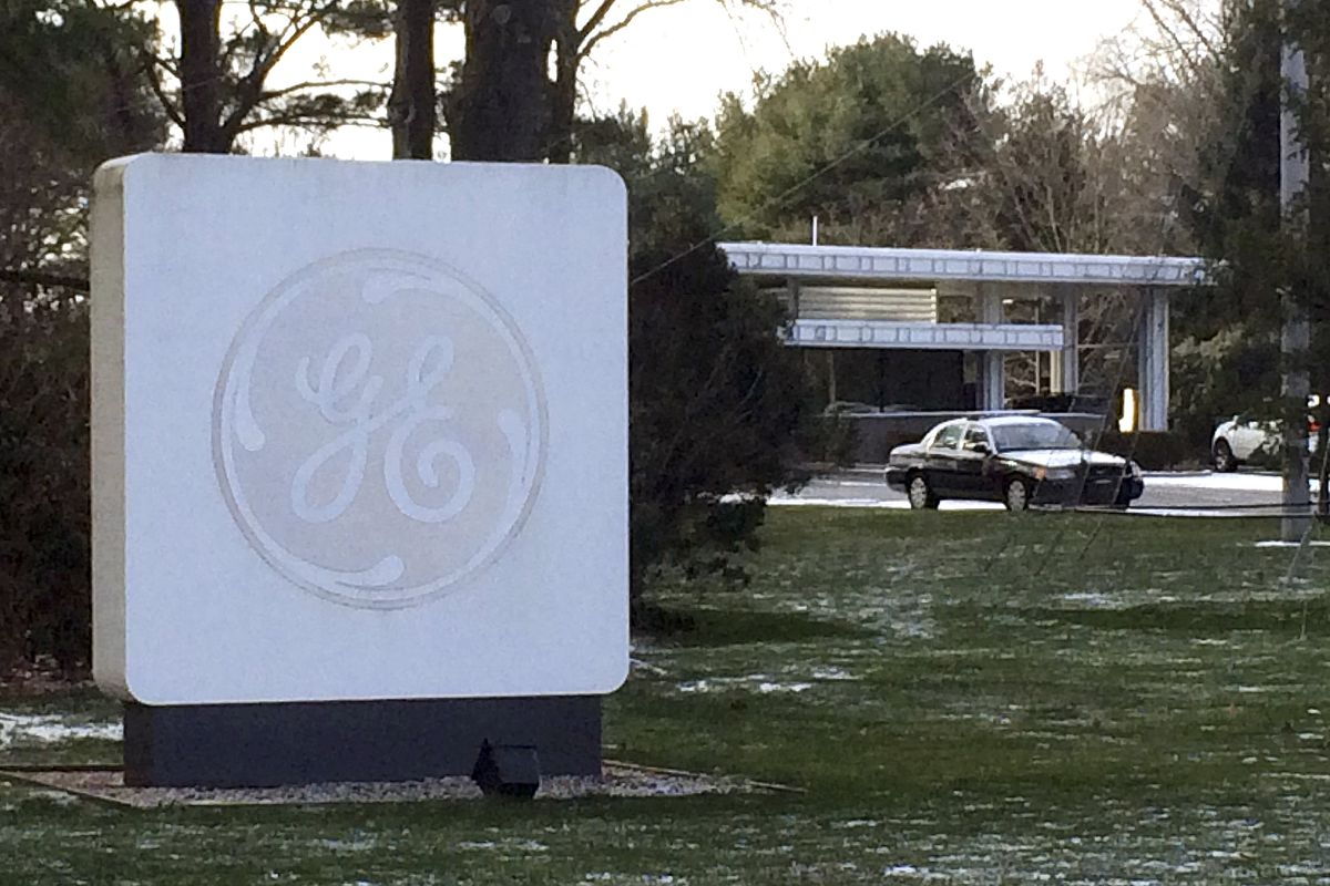 Sign outside GE's Fairfield, Conn., headquarters