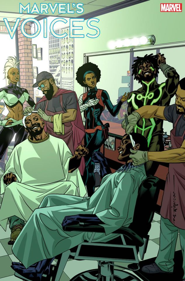 Storm, Misty Knight, Manifold, Luke Cage, and Black Panther hang out in a barber shop together in a variant cover for Marvel's Voices #1, Marvel Comics (2020).