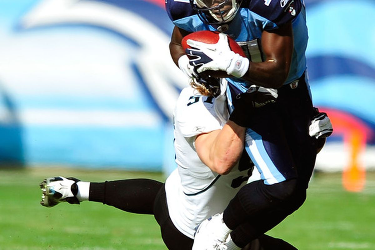 NASHVILLE, TN - DECEMBER 24:  Damian Williams #17 of the Tennessee Titans is tackled by Paul Posluszny #51 of the Jacksonville Jaguars during play at LP Field on December 24, 2011 in Nashville, Tennessee.  (Photo by Grant Halverson/Getty Images)
