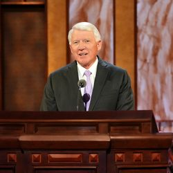 Brother Jan E. Newman, second counselor in the Sunday School general presidency, speaks during the Saturday morning session of The Church of Jesus Christ of Latter-day Saints' 191st Annual General Conference in Salt Lake City on April 3, 2021.