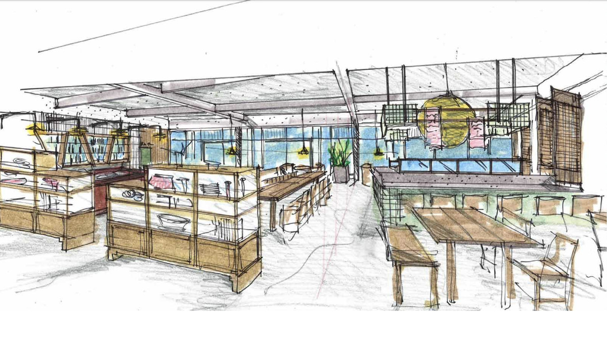 A rendering of China Live, with sketches of a bar and communal tables.