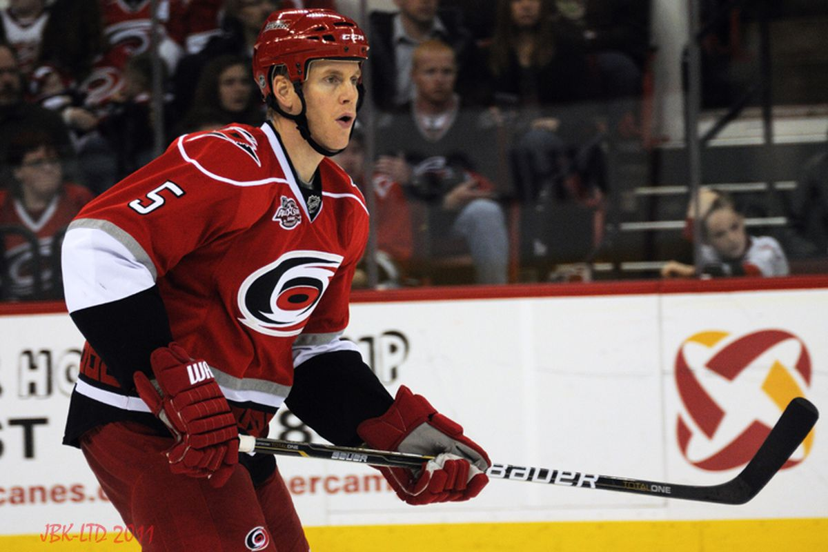 """Despite being an unrestricted free agent this summer, defenseman Bryan Allen will play out his contract in Carolina. (Photo by <a href=""""http://www.flickr.com/photos/jbk-ltd/collections/72157619609115405/"""">Jamie Kellner</a>)"""