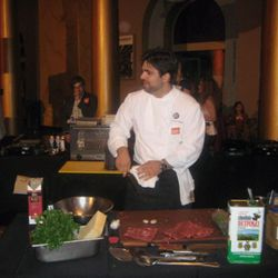 Victor Albisu made a roulade with roasted red pepper.
