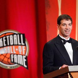 John Stockton is inducted into the Naismith Memorial Basketball Hall of Fame during an induction ceremony on September 11, 2009 in Springfield, Mass.