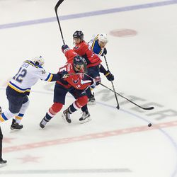 Laich and Fehr Try to Get Through Backes and Oshie