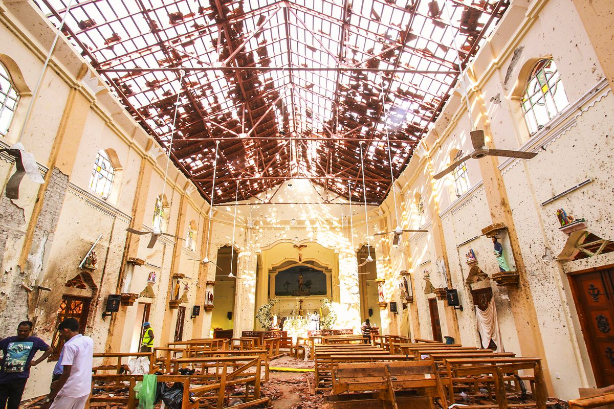 Sri Lankan officials inspect St. Sebastian's Church in Negombo, north of Colombo. Easter is one of Christianity's holiest days, and many Sri Lankan Christians were worshipping at church when the attacks took place.