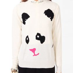 """<b>Forever 21</b> Panda Graphic Sweater in cream/black, <a href=""""http://www.forever21.com/Product/Product.aspx?BR=f21&Category=sweater_tunics&ProductID=2040496149&VariantID="""">$22.80</a>"""
