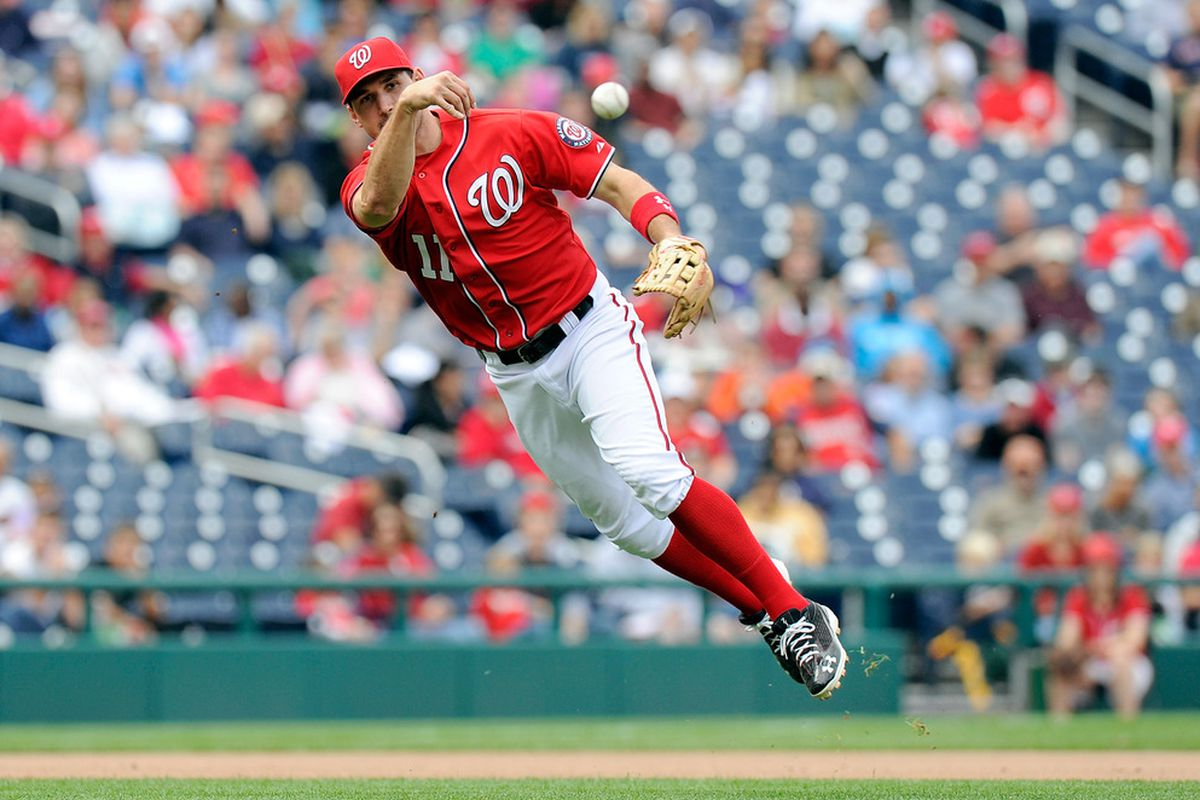 WASHINGTON, DC - SEPTEMBER 18:  Ryan Zimmerman #11 of the Washington Nationals throws the ball to first base against the Florida Marlins at Nationals Park on September 18, 2011 in Washington, DC.  (Photo by Greg Fiume/Getty Images)
