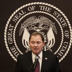 Utah Gov. Gary Herbert addresses the evolving economic situation associated with COVID-19 at the Capitol in Salt Lake City on Friday.