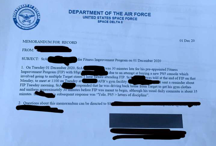 A letter of reprimand from the Space Force