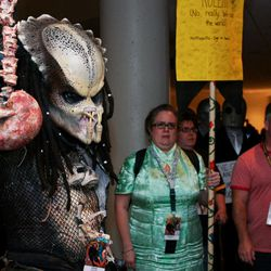 """A Dragon Con attendee dressed as a character from the movie """"Predator"""" at Dragon Con in Atlanta, on Friday, Aug. 31, 2012. The annual science fiction and fantasy convention drew big crowds and had more than 30,000 pre-registered attendees."""