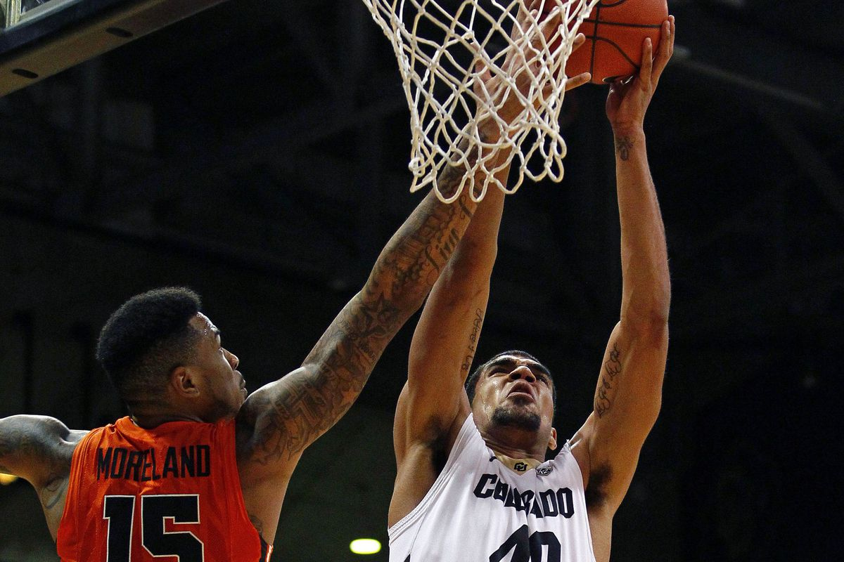 Eric Moreland (15) returned to action for Oregon St., and would share rebounding honors with Colorado's Josh Scott (40). Both had 10 boards tonight, but Scott had a co-team high 13 points, while Moreland had just 2.