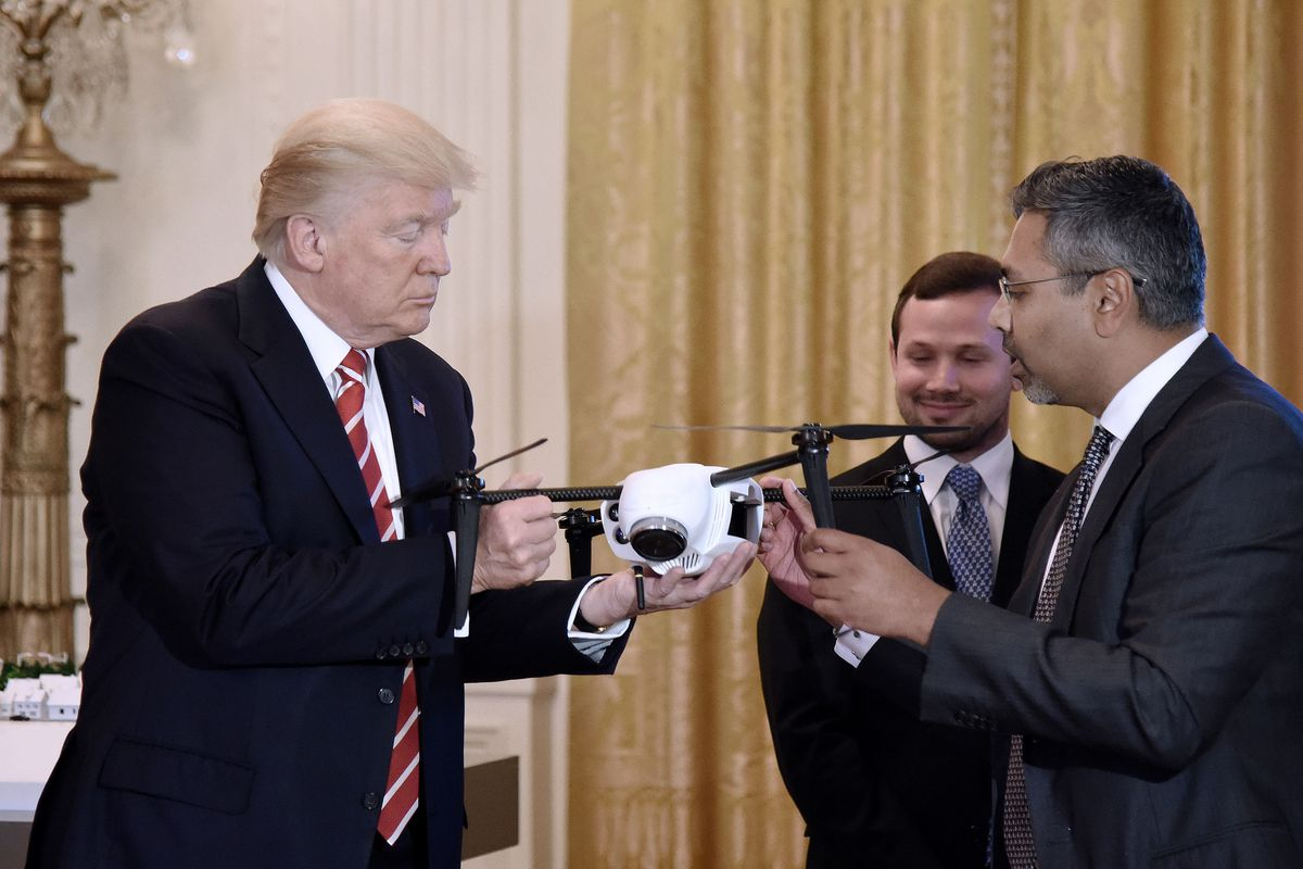 President Donald Trump is shown a quadcopter drone