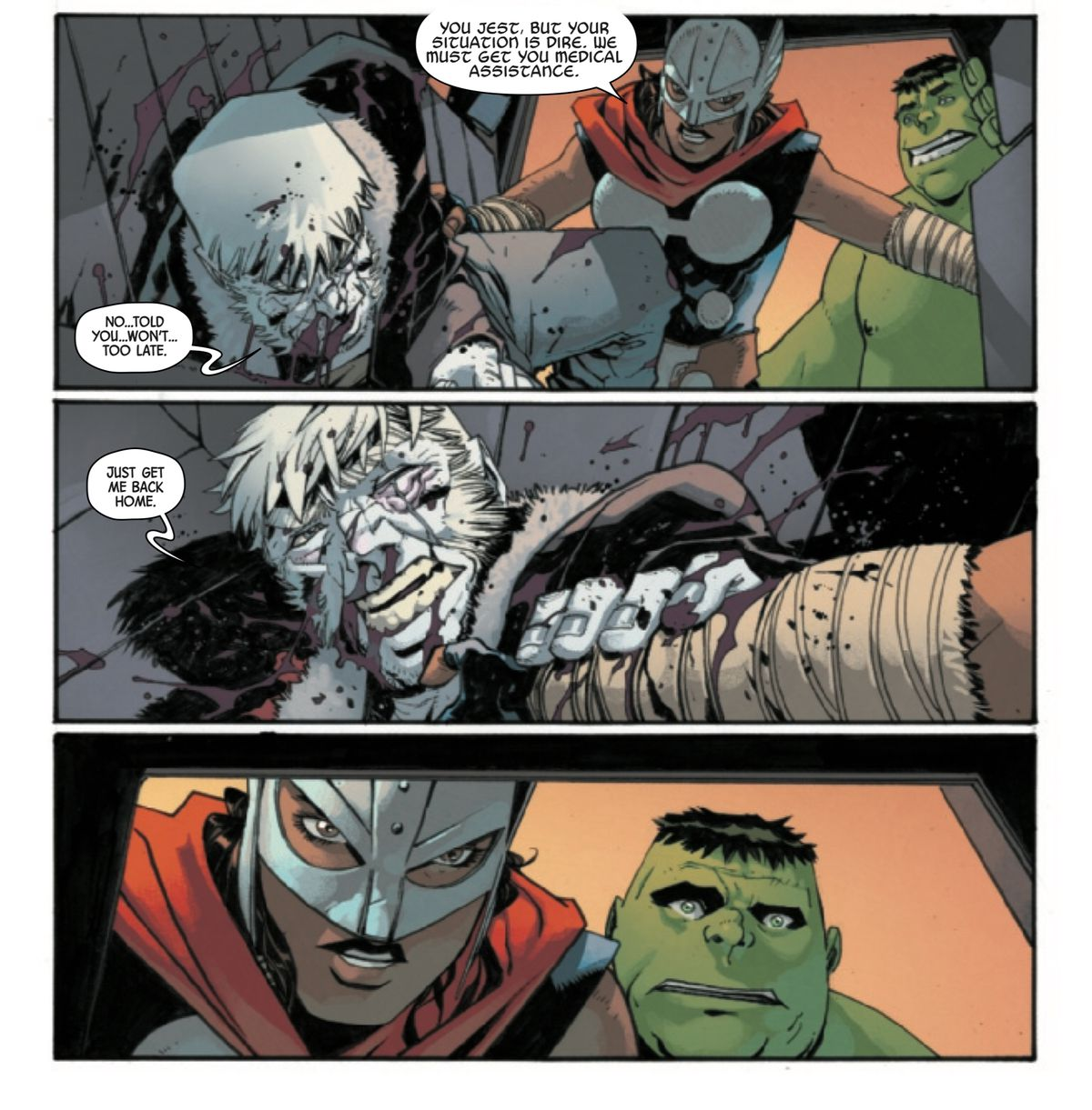 Realizing that he is dying, Logan asks Dani Cage and Bruce the hulk-kid to take him home, in Old Man Logan #12, Marvel Comics (2019).
