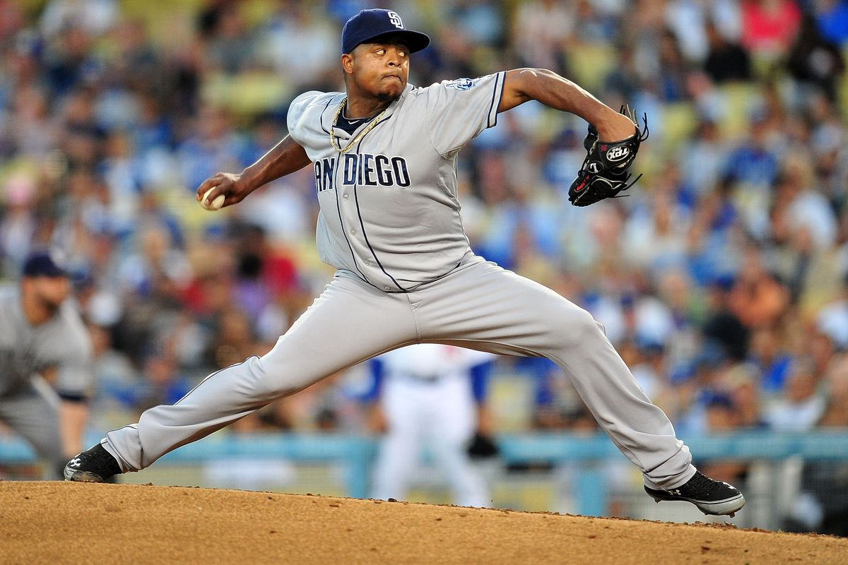 July 14, 2012; Los Angeles, CA, USA; San Diego Padres starting pitcher Edinson Volquez (37) pitches in the fifth inning against the Los Angeles Dodgers at Dodger Stadium. Mandatory Credit: Gary A. Vasquez-US PRESSWIRE