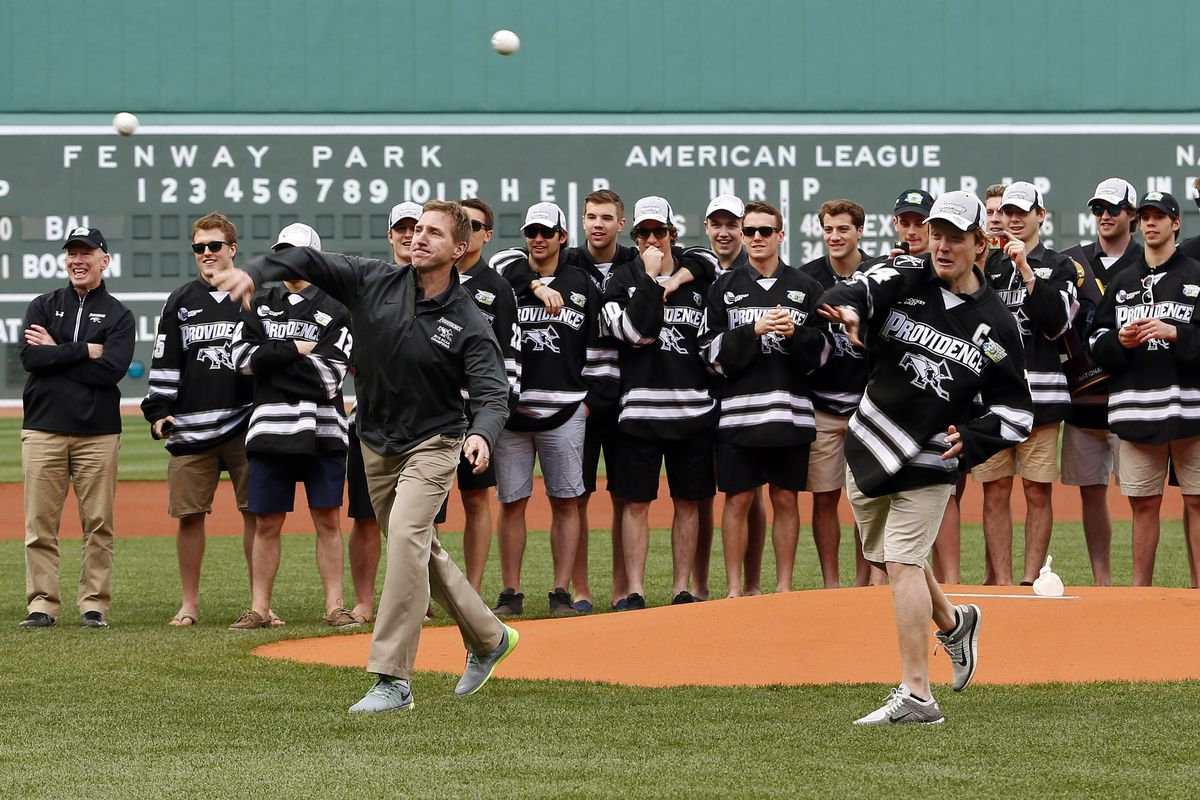 Throwing out the first pitch at Fenway Park was one of the perks of winning the 2015 NCAA Championship.