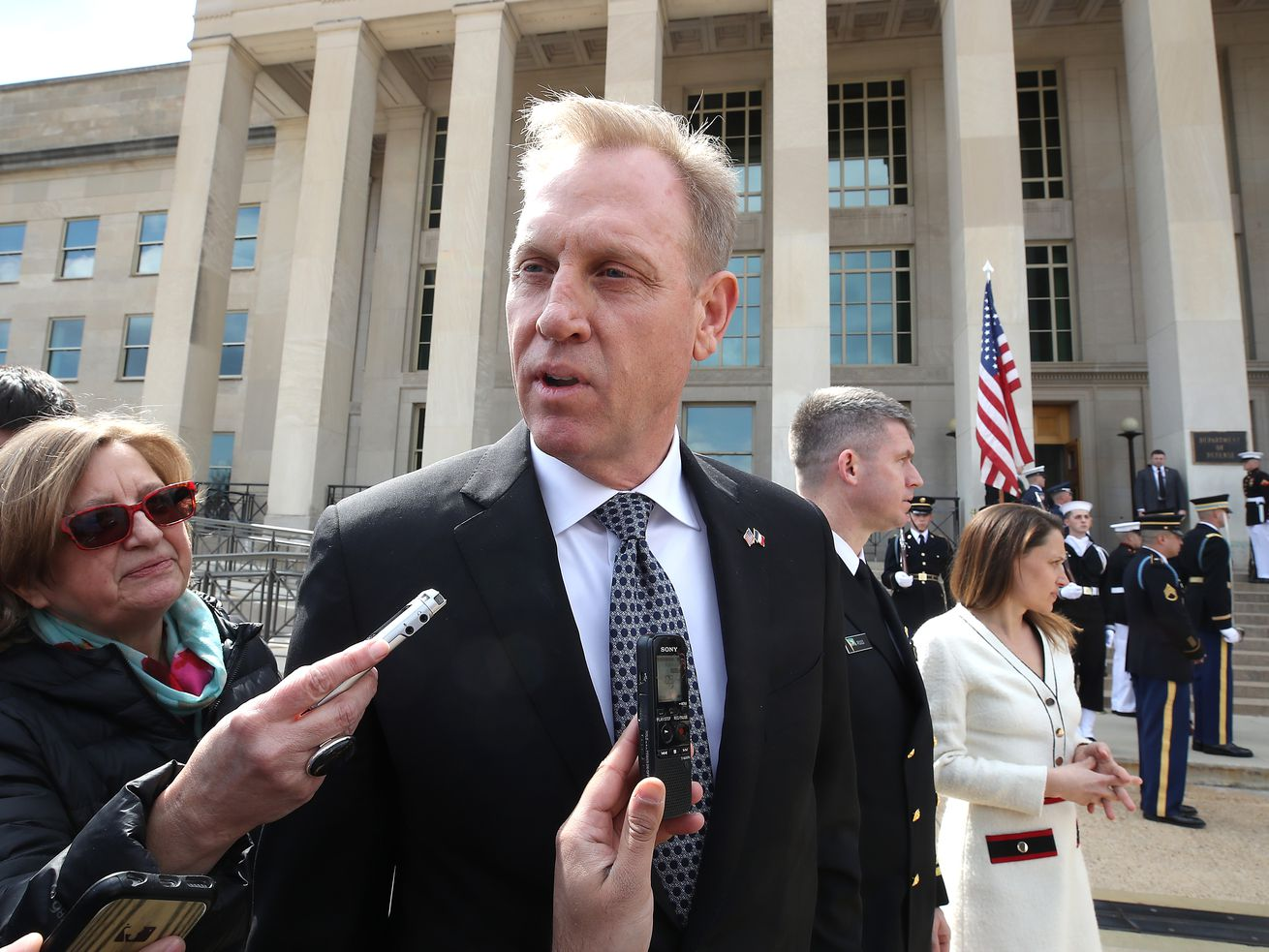Acting Defense Secretary Patrick Shanahan speaks to the media before welcoming French Armed Forces Minister Florence Parly during an honor cordon at the Pentagon on March 18, 2019, in Arlington, Virginia.