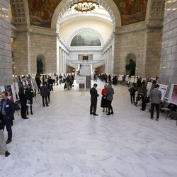 Utah State University and University of Utah students present their research during Undergrad Research Day at the Capitol in Salt Lake City on Tuesday, Feb. 18, 2020.