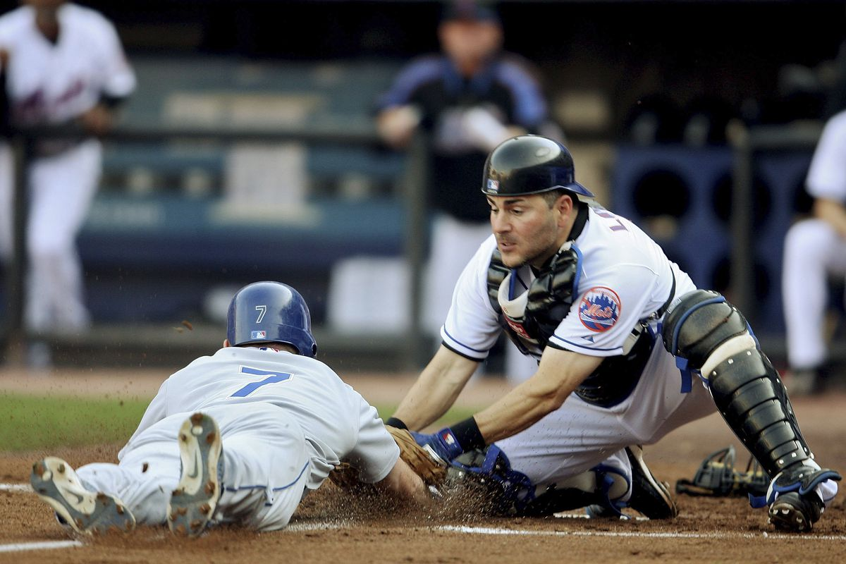 Paul Lo Duca tags J.D. Drew for the second out of a bizarre double play.