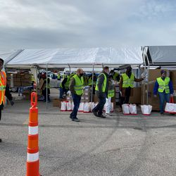 Latter-day Saint Charities partnered with the Urban League of Metropolitan Saint Louis, Inc., in providing more than 3,500 St. Louis-area families in need with food, toiletries, masks and PPE in Florissant, Missouri, on Monday, January 18, 2021.