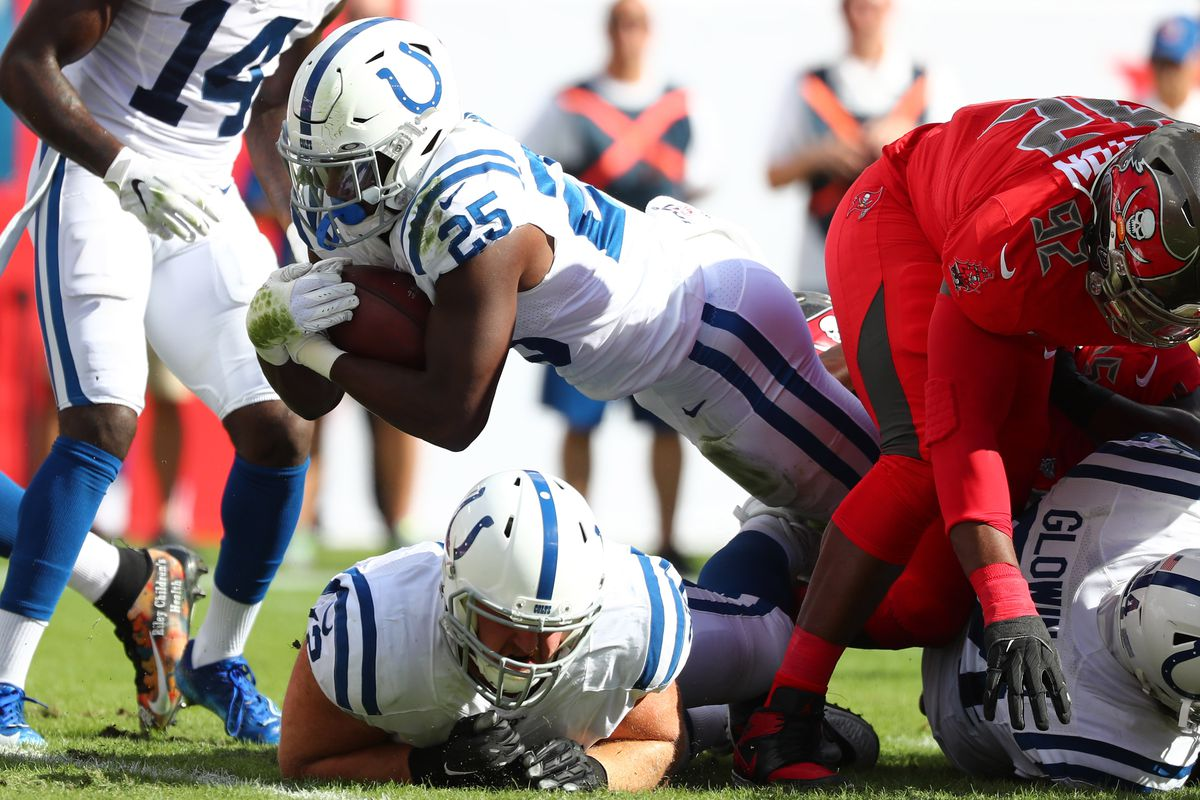 Indianapolis Colts running back Marlon Mack runs with the ball against the Tampa Bay Buccaneers during the first half at Raymond James Stadium.