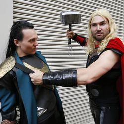 Trevor McCarley and Matt Bowen attend Comic Con during the convention at the Salt Palace in Salt Lake City Friday, Sept. 5, 2014.
