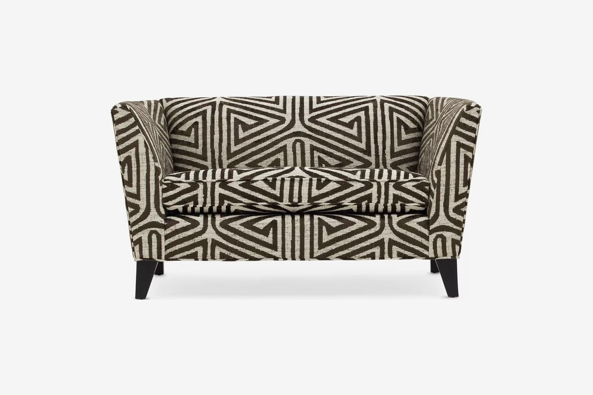 Black-and-white patterned sofa.