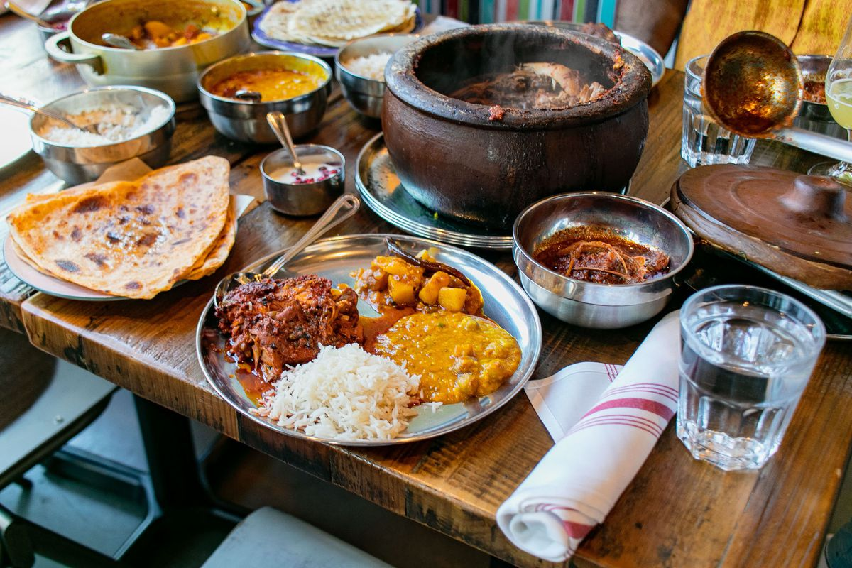 A spread of Indian dishes