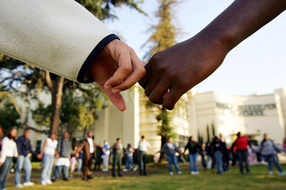Students rally against racism.