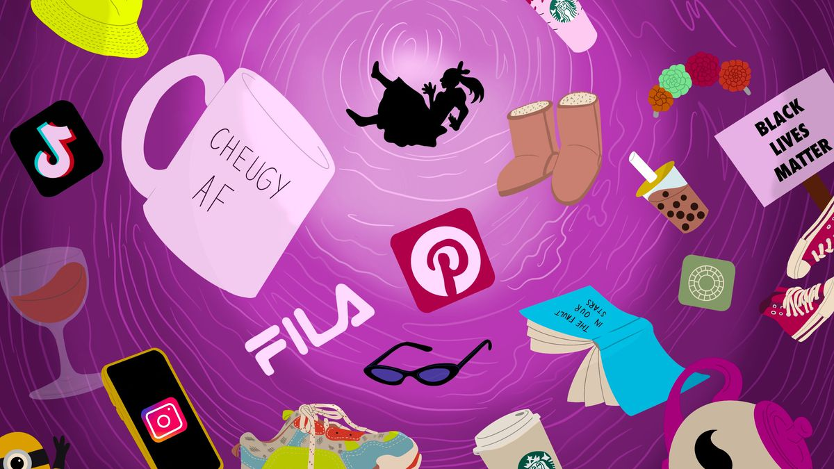 """Drawing of a woman falling into a pink abyss surrounded by cultural signifiers (Pinterest symbol, wine glass, minion, mug that says """"Cheugy AF"""")."""