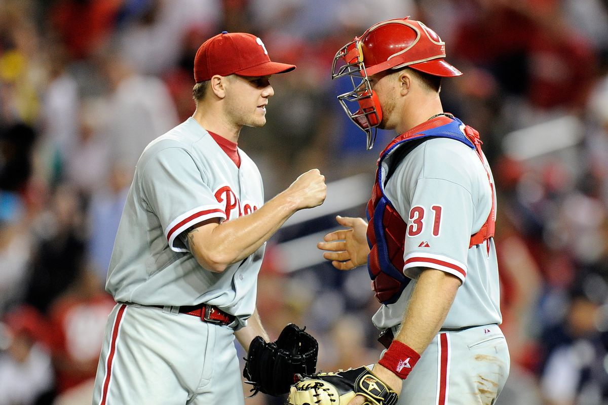 WASHINGTON, DC - AUGUST 01:  Jonathan Papelbon #58 of the Philadelphia Phillies learns the hard way not to punch someone wearing a mask. Also this was Wednesday.  (Photo by Greg Fiume/Getty Images)
