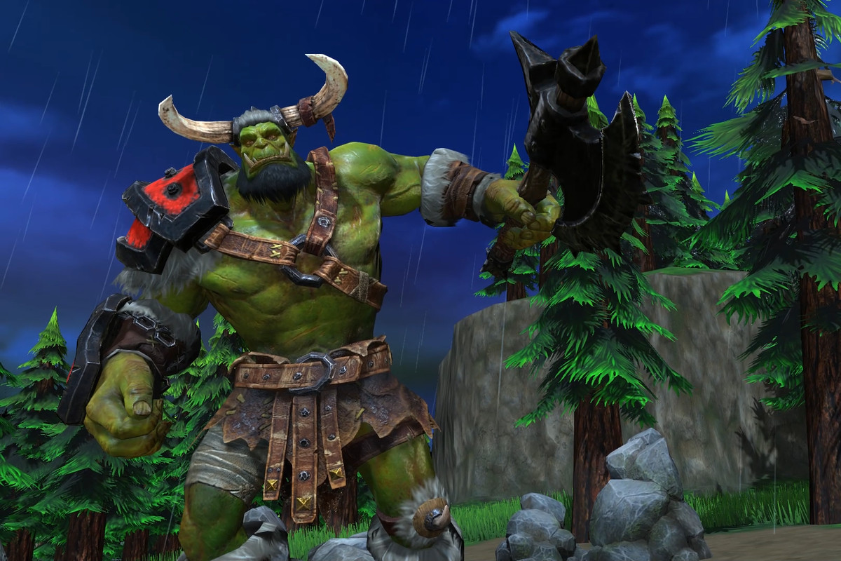 An orc with armor and an axe in Warcraft 3: Reforged