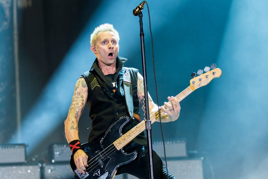 Green Day's bassist Mike Dirnt performs at Wrigley Field on Thursday, August 24, 2017. | SANTIAGO COVARRUBIAS/FOR THE SUN-TIMES