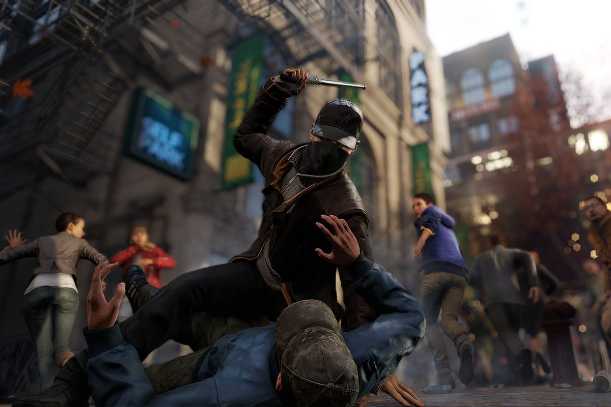 Aiden Pearce beats up someone with a baton in Watch Dogs