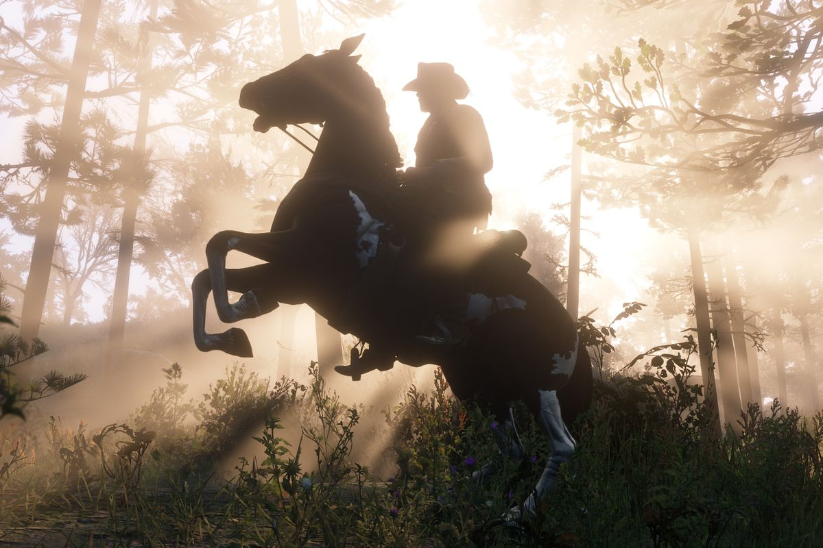 Red Dead Redemption 2 - Arthur's horse rearing up in the forest as the sun shines behind them