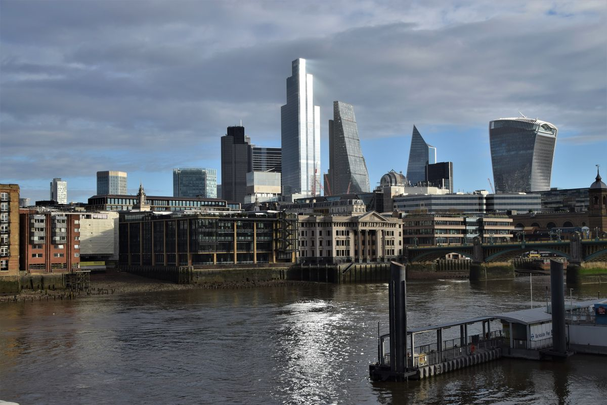 Daytime view of the City of London skyline, where many...