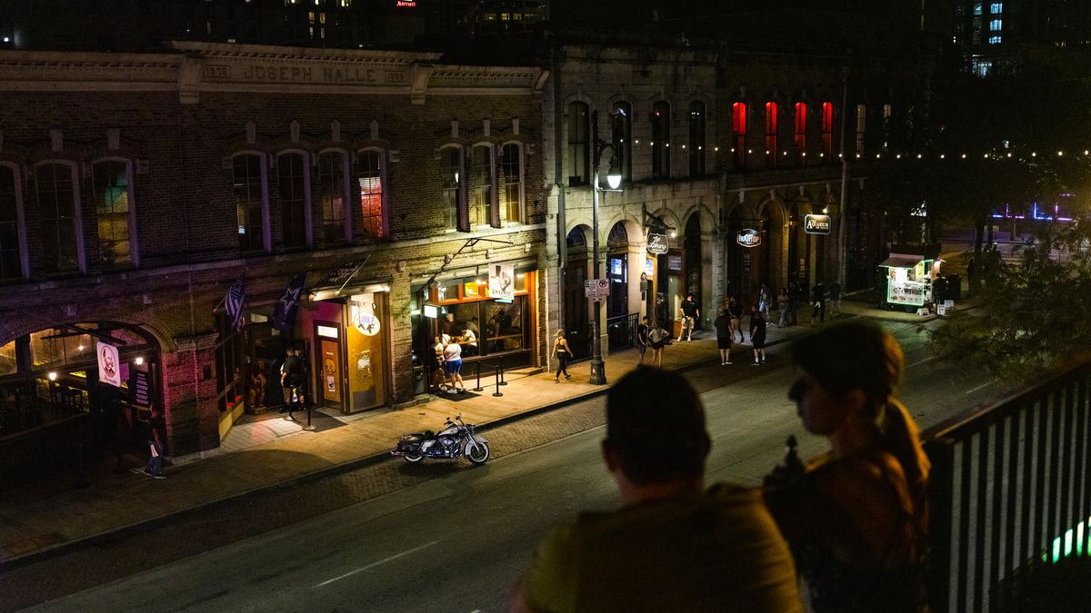 A view of the bars along East Sixth Street in downtown Austin in late May 2020.