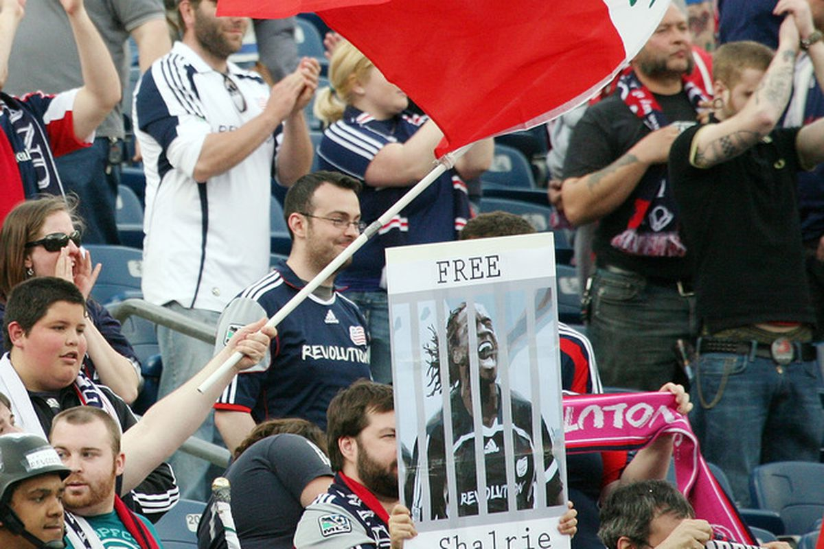 FOXBORO, MA - APRIL 14:  Fans of the New England Revolution react during a game against the DC United in the first half at Gillette Stadium April 14, 2012 in Foxboro, Massachusetts. (Photo by Gail Oskin/Getty Images)